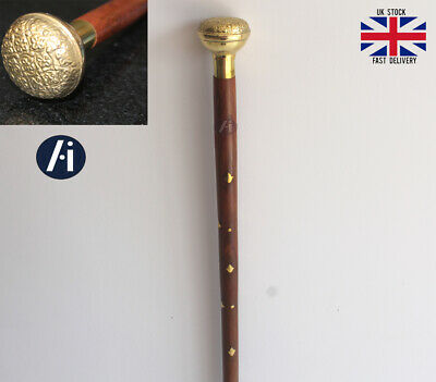 Classic Style Gentle Man Solid Brass Handle Wooden Walking Stick Cane Wood