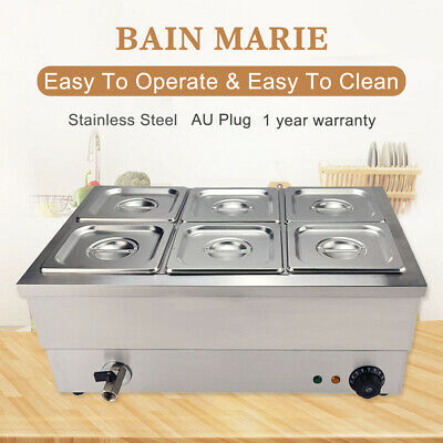 Commercial Bain Marie Electric Food Warmer Catering Wet Well Heat 6 Pots Lids