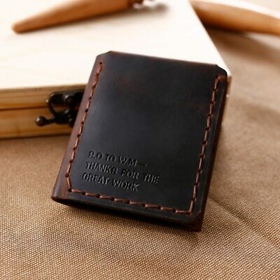 Trifold Genuine Leather Wallet Men's Short Vintage Purse Coin Pocket Card Holder