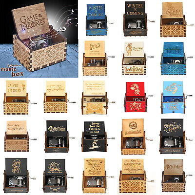Wooden Music Box Harry Potter Game of Thrones Engraved Musical Toys Kids Gifts