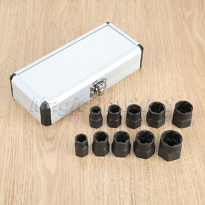 10pc Damaged Nut Bolt Remover Stud Extractor Set Broken Bolt Removal Kit Alloy