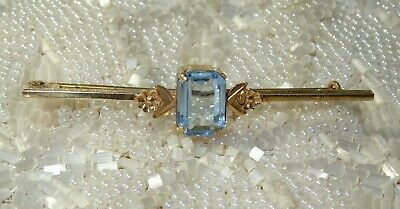 Antique Art Deco 9ct Gold Aquamarine Topaz Blue Set Bar Brooch