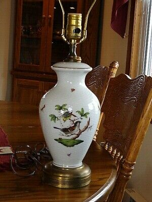 Lovely Tall Herend Rothschild Bird & Insects Porcelain Table Lamp