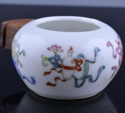 Rare 19Thc Chinese Famille Rose Imperial Buddha Objects Bird Feeder Water Pot