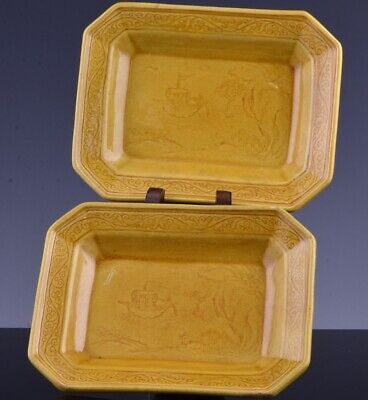 Pair Superb 19Thc Chinese Carved Yellow Glaze Landscape Scholars Tray Dishes