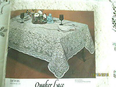 Quaker Lace Tablecloth Oblong 64X102'Natural White Lovely Floral Vintage New 817