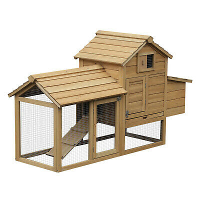 Large Chicken Coop Hen Cage Small Animal Hutch w/ Outdoor Run Nesting Box
