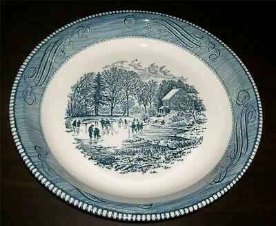 "Vintage Royal China Jeannette 10"" Pie Plate Currier Ives Ice Skater Winter Scene"
