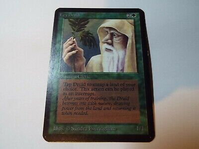 MAGIC THE GATHERING, MTG ALPHA GREEN UNCOMMON CARD LEY DRUID, lp-ex