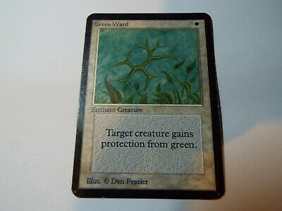 MAGIC THE GATHERING, MTG ALPHA WHITE UNCOMMON CARD GREEN WARD, mp