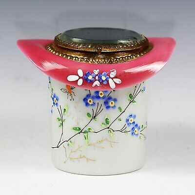 Antique French white and pink opaline glass trinket box hinged lid ormolu mounts