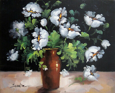 White Flowers Roses Still Life Vase Accent Piece 20X24 STRETCHED Oil Painting