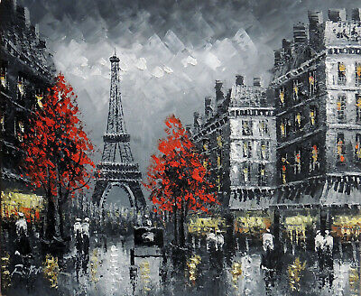 Paris Black & White Eiffel Tower Fall Street 1890s 20X24 Oil Painting STRETCHED