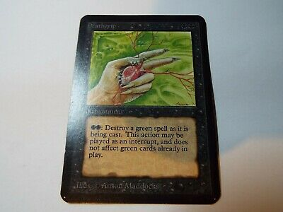MAGIC THE GATHERING, MTG ALPHA BLACK UNCOMMON CARD DEATHGRIP, ex-nm
