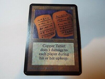 MAGIC THE GATHERING, MTG ALPHA ARTIFACT UNCOMMON CARD COPPER TABLET, ex-nm