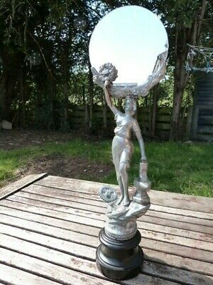 Stunning Antique Vintage Art Deco Spelter Figurine Mirror Stand.