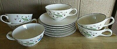 Vintage Syracuse Retro Mid Century Mcm Belaire 6 Cup And Saucer Sets