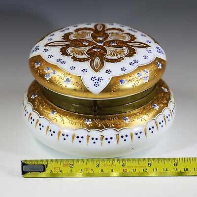 Antique Victorian era Large Trinket Box Bohemian enamelled opaline glass