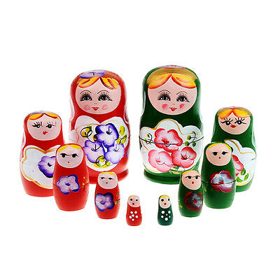 5pcs/Set Russian Nesting Dolls Toy Wooden Doll Babushka Matryoshka Handmade