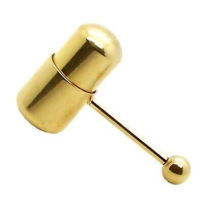 Gold Steel Vibrating Tongue Barbell Ring Body Jewelry with 2 Batteries