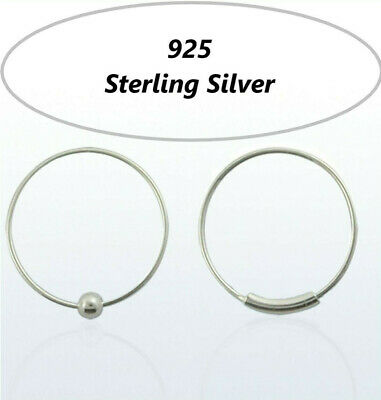 Solid 925 Sterling Silver Nose Earring  Ring Hoop Cartilage Tragus  Piercing