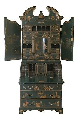 47672EC: Green Chinoiserie Lacquer Paint Decorated Secretary Desk