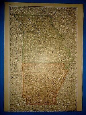 Vintage Circa 1876 ARKANSAS - MISSOURI MAP Early Old Antique Original Atlas Map