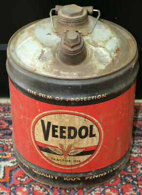 Vintage Veedol Tractor Oil 5 Gallon Advertising Oil Can 1940's