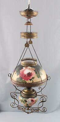 Antique Victorian Painted Roses Glass Brass Hanging Kerosene Lamp & Aladdin Font