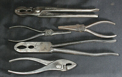 Set of 5 Antique Assorted Pliers: C.S. Osborne Kraeuter Motor Spec Crescent