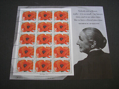 USPS 1996 Georgia O'Keeffe Red Poppy 15 Stamps (Face $4.80)