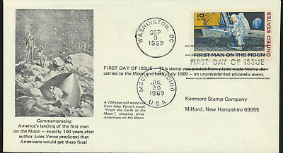 C76 Moon Landing 1969 Dual Cancel UA First Day Cover 1st Kenmore Stamp Co Cachet