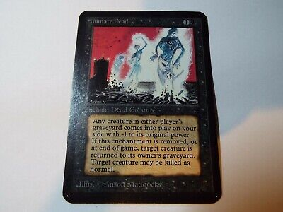 MAGIC THE GATHERING, MTG ALPHA BLACK UNCOMMON CARD ANIMATE DEAD, ex
