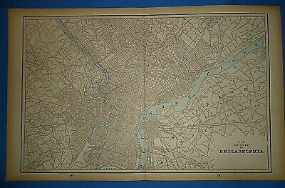 Vintage Circa 1893 PHILADELPHIA MAP Old Early Antique Original Atlas Map