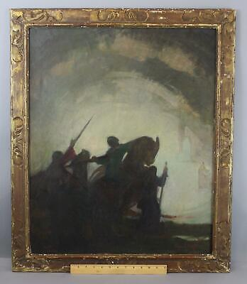 Antique GINO E CONTI Impressionist Luminist Jousting Knights Oil Painting
