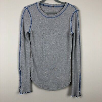 FREE PEOPLE ZIP It Cuff Thermal Gray Blue Contrasting Stitch