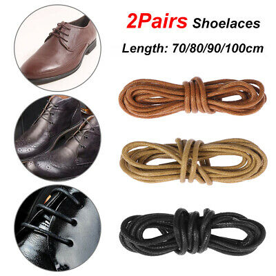 2 Pairs Round Waxed Shoelaces Unisex Leather Dress Shoes Boots Laces Strings New
