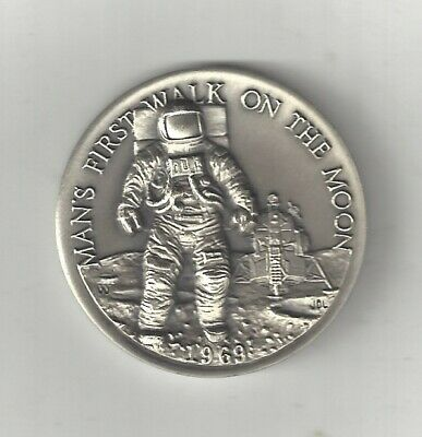 APOLLO 11 FIRST WALK MOON ASTRONAUT NASA STERLING SILVER LONGINES MEDAL COIN 1st
