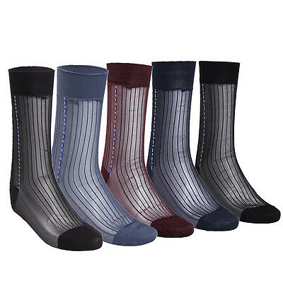 Mens Sheer Silk Jacquard Over the Calf Striped Business Thin Socks - 3 Pairs