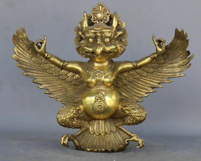 Exquisite Chinese Old collection copper gold lucky auspicious divine bird statue