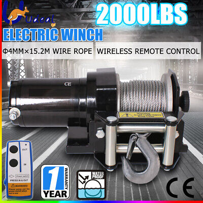 Electric Steel Cable Winch Boat ATV 4WD Trailer Wireless 3000LBS 1360KG 12V AU
