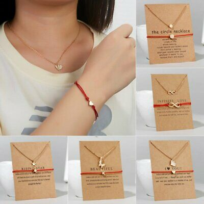 Women 2pcs Lucky Necklace Infinity Weave Bracelet + Card Couple Jewelry Gift New