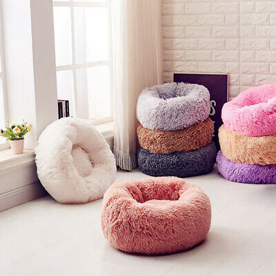 Pet Dog Cat Calming Bed Round Nest Sleeping Bed Soft Plush Self Sleeping Mat
