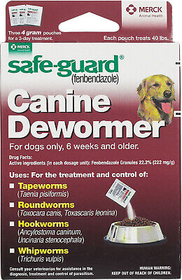 Safe-Guard Panacur Dog Wormer Up to 40 Pounds 4gm 3 Pack DeWormer Tapeworms