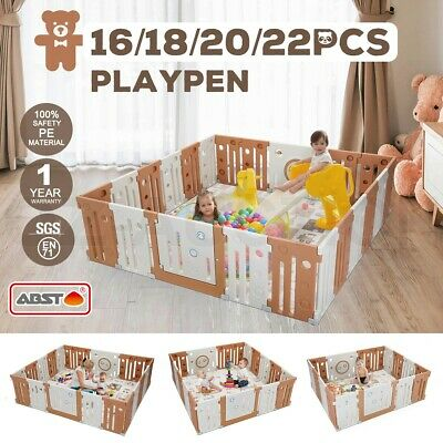Kids Baby Playpen Interactive Baby Room Foldable Safety Gates ABST Multi