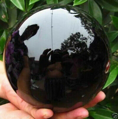 80MM+stand Natural Black Obsidian Sphere Large Crystal Ball Healing Stone Gift