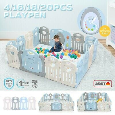 Multi Kids Baby Playpen Interactive Baby Room Foldable Safety Gates Kuer ABST