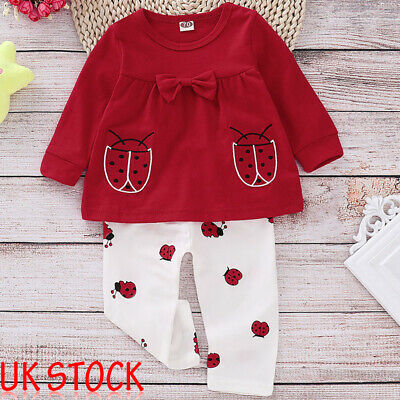 Newborns Baby Girl Cute Beetle Shirt Top Pants Trousers Outfits 2Pcs Clothes Set