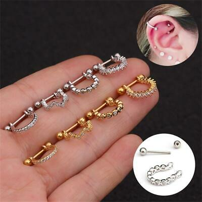 1x Stainless Steel Barbell With Cz Hoop Cartilage Helix Ear Piercing Earring New