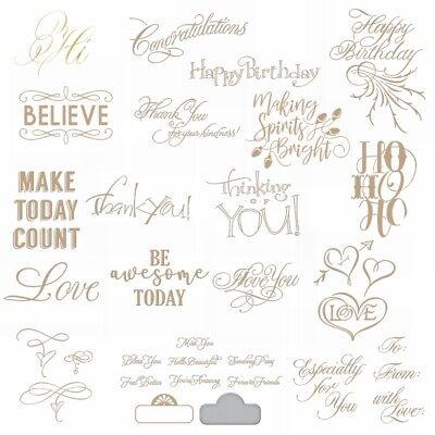 Expressions Greetings and Wishes Hot Foil Plate Dies Scrapbooking Stencil Craft